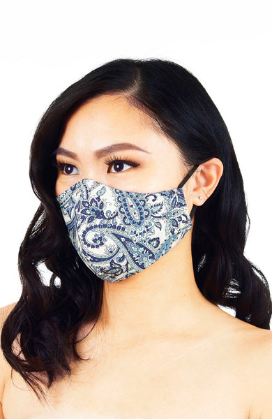 Polished Paisley Pure Cotton Face Mask - White