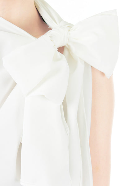 Posh Oversized Bow Blouse - White