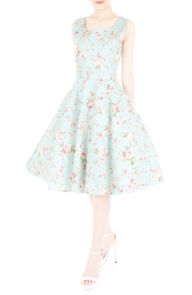 Prairie Vintage Floral Flare Midi Dress - Light Mint