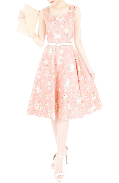 Prairie Vintage Floral Flare Midi Dress - Light Rose