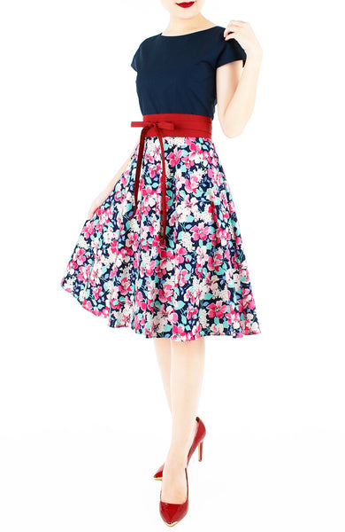 Prairie Poppies Flare Tea Dress - Midnight Blue