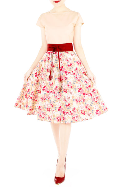 Prairie Poppies Flare Tea Dress - Peach