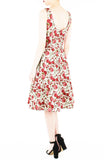 Prettiest Petals Flare Midi Dress in Red Rose