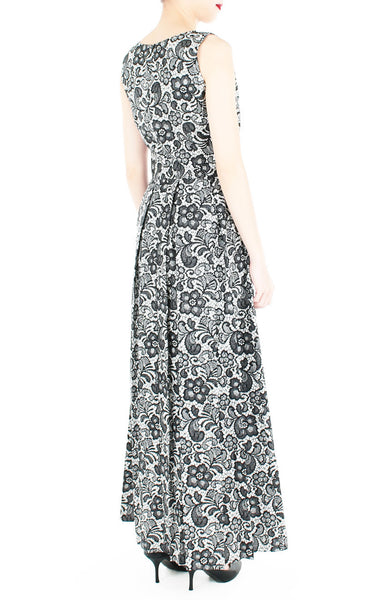 Sophisticated Specialty Lace Flare Maxi Dress - Black