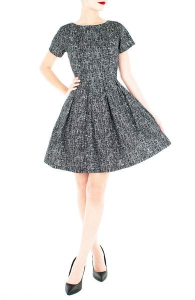 Professional Posh Flare Dress with Short Sleeves - Noir Black