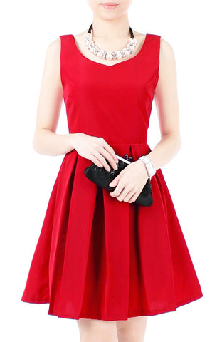 Prom Princess Flare Dress - Merlot Red