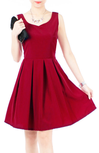 Prom Princess Skater Dress - Merlot Red