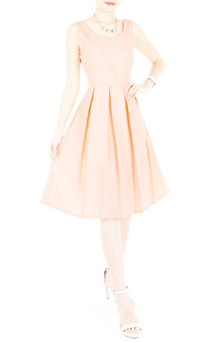 Forever Fanciful Flare Midi Dress with Bow Back  - Peach
