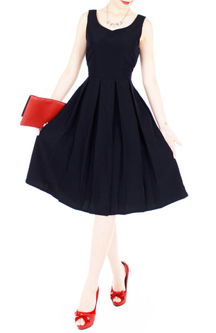 Forever Fanciful Flare Midi Dress with Bow Back - Midnight Blue