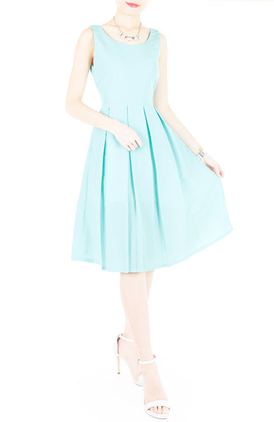 Forever Fanciful Flare Midi Dress with Bow Back  - Tiffany Blue