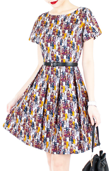 Purrfect-Style Flare Dress with Short Sleeves