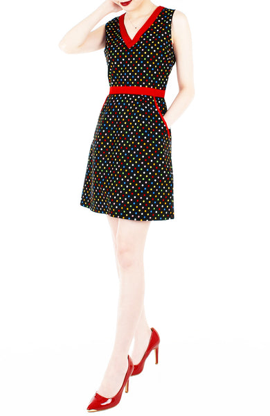 Rainbow Confetti 60s Mod A-Line Dress