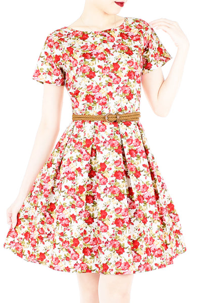 Red Roses Aflutter Flare Dress with Short Sleeves