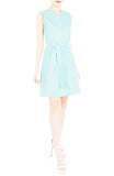 Reinventing the Wheel A-Line Button Down Dress - Arctic Green