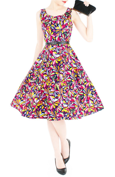 Resplendent Kaleidoscope Flare Midi Dress - Red