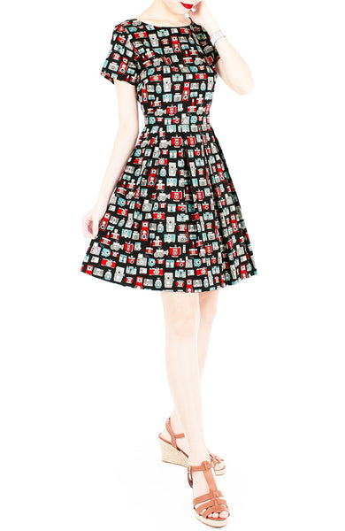 Retro Camera & Cassette Flare Dress with Short Sleeves