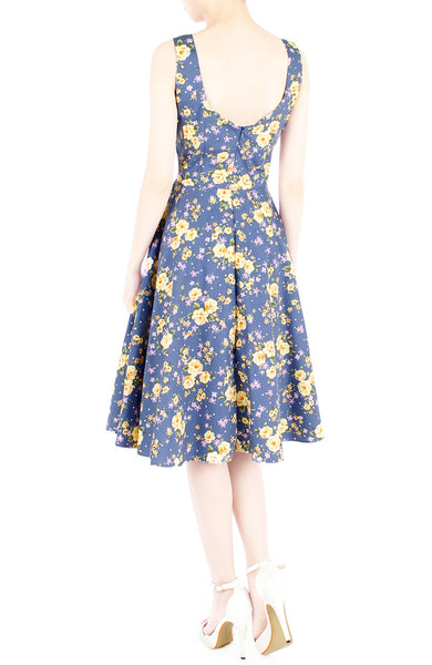Riveting Rose Floral Flare Midi Dress - Carolina Blue