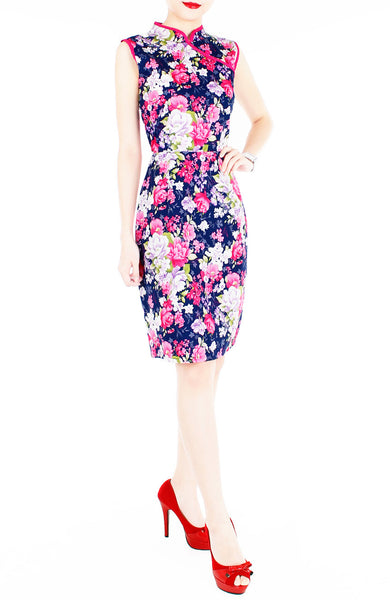 Romance of the Spring Cheongsam Dress - Midnight Blue