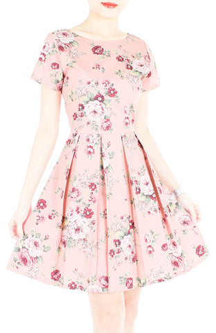 Romantic Resplendence Rose Flare Dress with Short Sleeves - Colonial Pink
