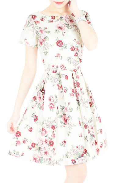 Romantic Resplendence Rose Flare Dress with Short Sleeves - Off White