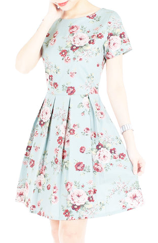 Romantic Resplendence Rose Flare Dress with Short Sleeves - Powder Blue