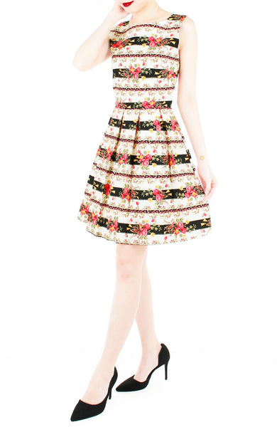 Romantic Baroque Roses Flare Dress - Red Rose