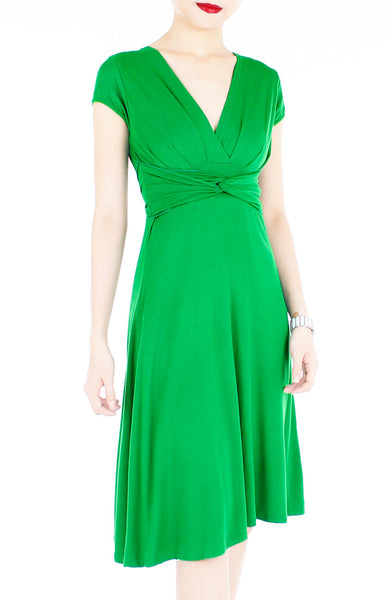 Romantic Knot Front Dress with Short Sleeves - Emerald Green