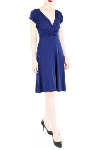 Romantic Knot Front Dress with Short Sleeves - Monaco Blue