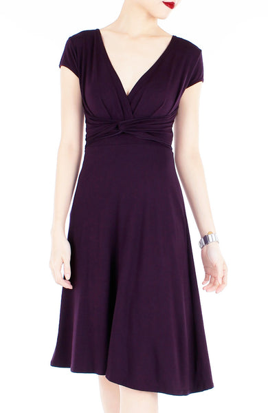 Romantic Knot Front Dress with Short Sleeves - Mulberry