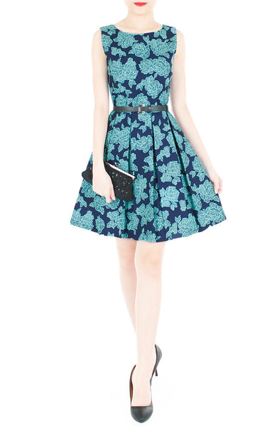 Rose Lattice Flare Dress - Blue