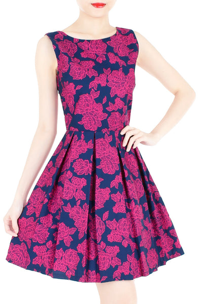 Rose Lattice Flare Dress - Rosy Pink