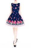 Rose Shower with Love Flare Dress - Dark Blue