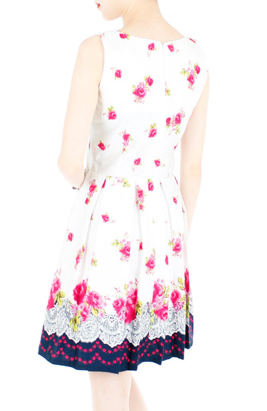 Rose Shower with Love Flare Dress - White