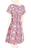 Rose & Radiance Flare Dress with Short Sleeves - Pink
