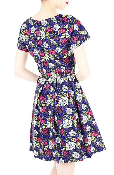 Rose & Radiance Flare Dress with Short Sleeves - Sapphire Blue
