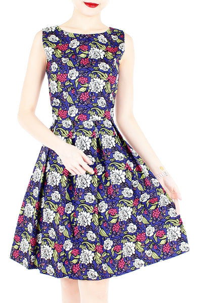 Rose & Radiance Flare Knee Length Dress - Sapphire Blue