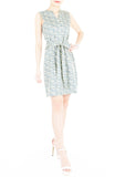 Roses Rendezvous A-Line Button Down Dress - Ash Blue