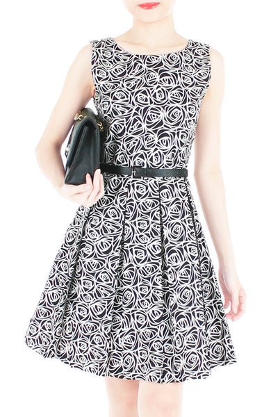 Roses Rendezvous Flare Dress - Black