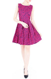 Roses Rendezvous Flare Dress - Fuchsia Pink