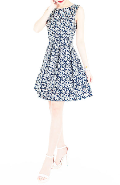 Roses Rendezvous Flare Dress - Oxford Blue