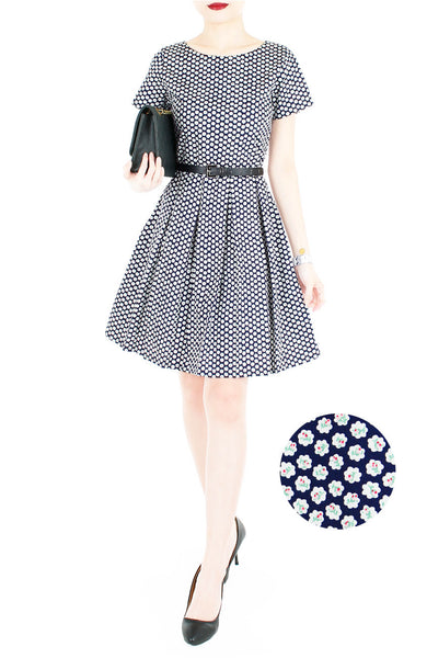 Rosette Doily Flare Dress with Short Sleeves - Ink Blue
