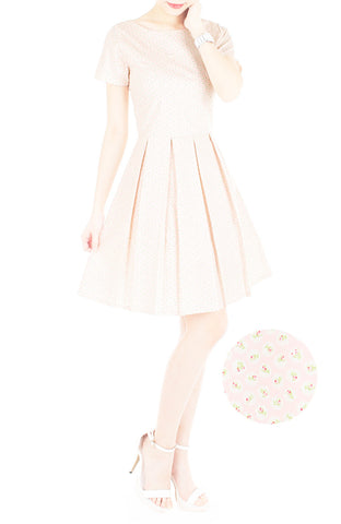 Rosette Doily Flare Dress with Short Sleeves - Petal Pink