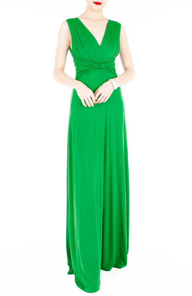 Romantic Knot Front Dress in Maxi Length - Emerald Green