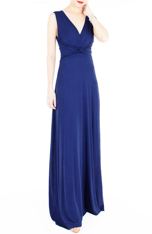 Romantic Knot Front Dress in Maxi Length - Monaco Blue