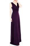 Romantic Knot Front Dress in Maxi Length - Mulberry