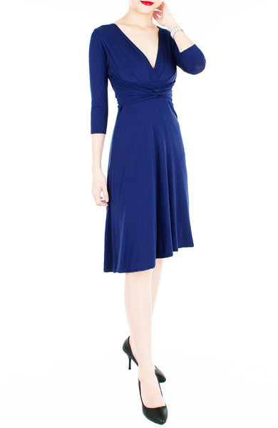 Romantic Knot Front Dress with ¾ Length Sleeves - Monaco Blue