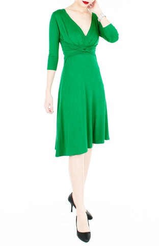 """Royal Engagement"" Dress with ¾ Length Sleeves - Emerald Green"