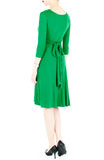 Romantic Knot Front Dress with ¾ Length Sleeves - Emerald Green