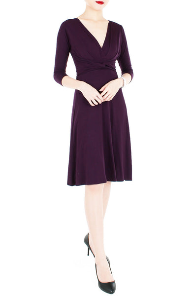 Romantic Knot Front Dress with ¾ Length Sleeves - Mulberry