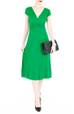 """Royal Engagement"" Dress with Short Sleeves Midi Length - Emerald Green"